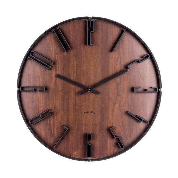 Tmavě hnědé nástěnné hodiny Karlsson Sentient, ⌀40 cm