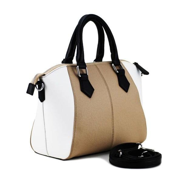 Kožená kabelka Sergia Taupe/Bianco