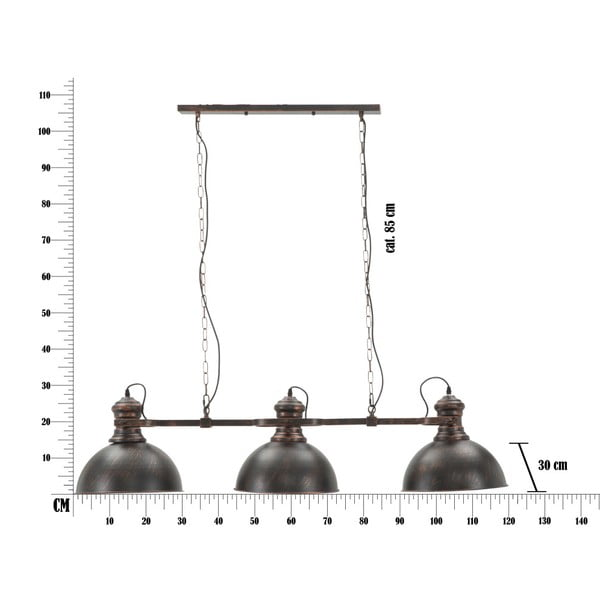 Černé závěsné svítidlo se 3 stínidly Mauro Ferretti Industry