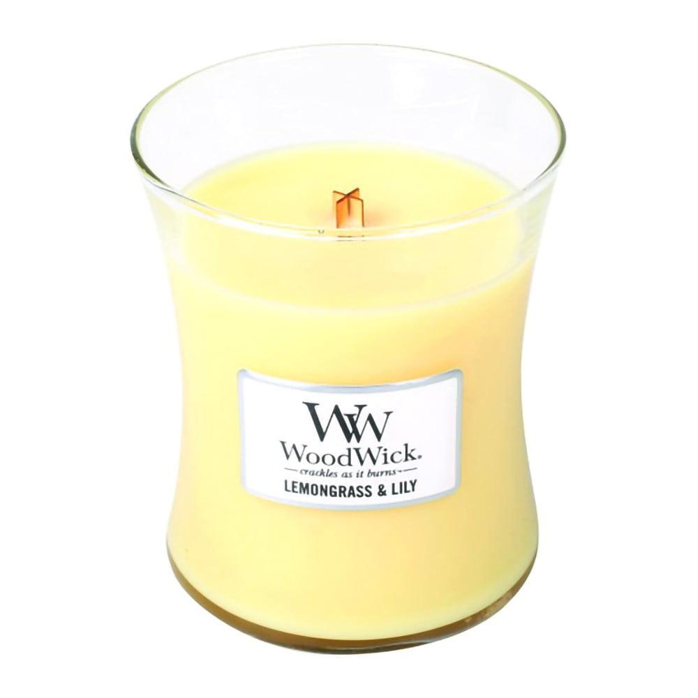 Svíčka s vůní citronové trávy a lilie WoodWick, dobahoření60hodin