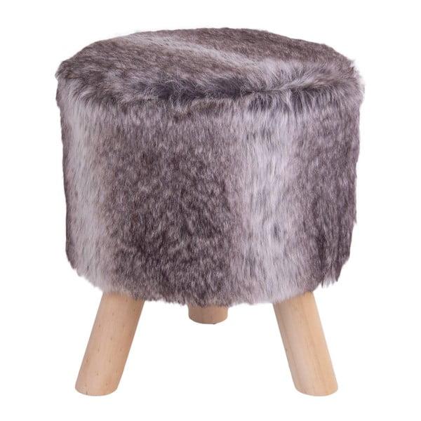 Sivá stolička z umelej kožušiny House Nordic Vilnius, ø 30 cm