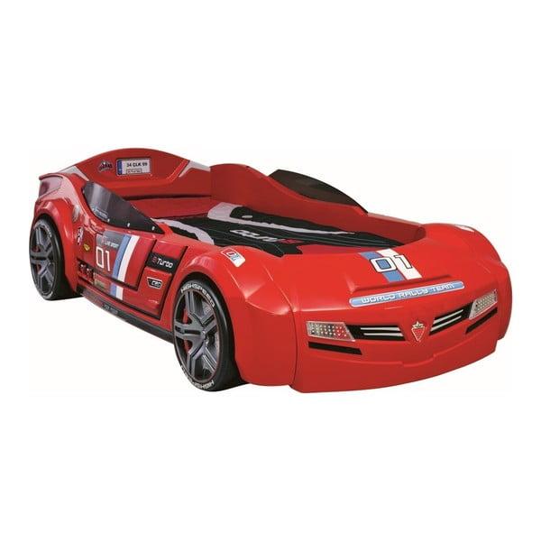 Biturbo Carbed Red autó formájú fekete gyerekágy, 90 x 195 cm