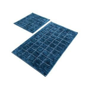 Sada 2 modrých bavlněných koupelnových předložek Confetti Bathmats Jean Estoril Blue