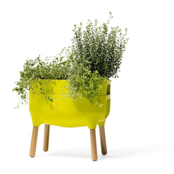 Vas pentru cultivarea plantelor Plastia Low Urbalive, înălțime 48 cm, verde