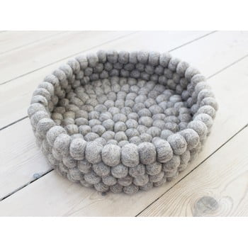 Coș depozitare cu bile din lână Wooldot Ball Basket, ⌀ 28 cm, maro nisip