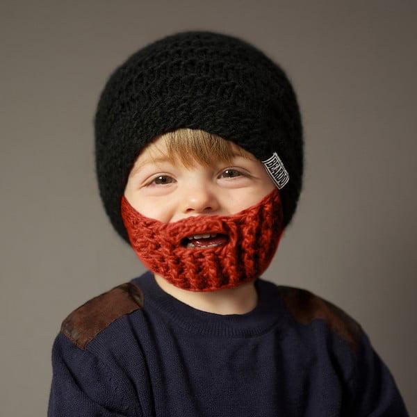 Dětská čepice s odepínatelným plnovousem Beardo, šedá/hnědá