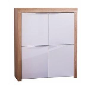 Dulap cu 4 uși 13Casa Classic, alb lucios-culoarea lemnului