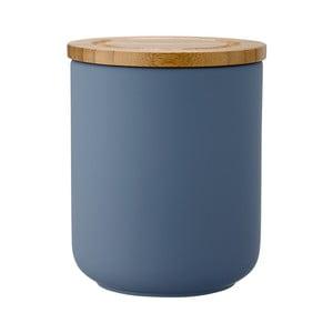 Modrá matná kameninová dóza Ladelle Stak, výška 13 cm