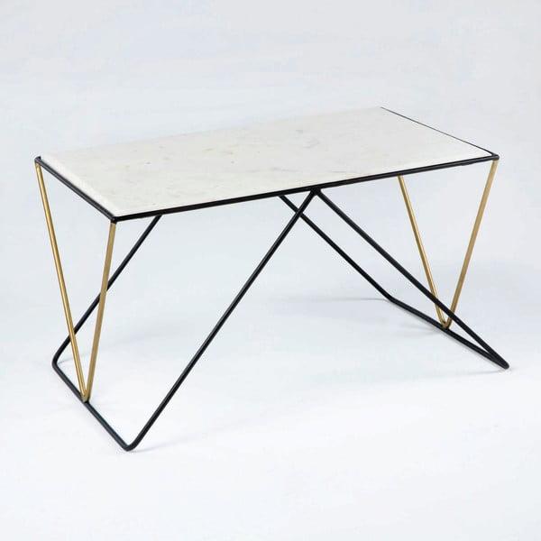 Konferenční stolek s mramorovou deskou a podnožím v černé a zlaté barvě Thai Natura, 51x 76cm