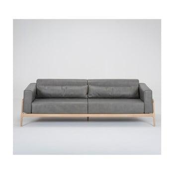 Canapea din piele bovină cu structură din lemn masiv de stejar Gazzda Fawn 240 cm gri închis