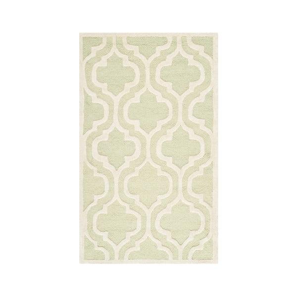 Vlněný koberec Lola 91x152 cm, zeleno-bílý
