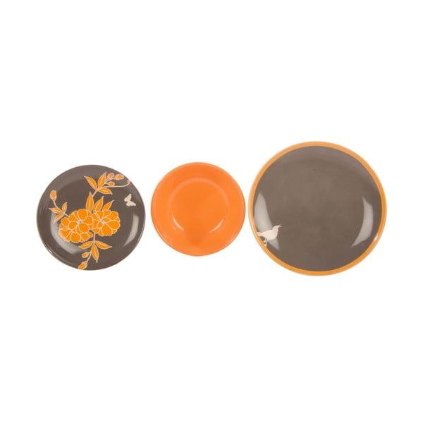 Sada 18 keramických talířů Ramponi Grigio Arancio