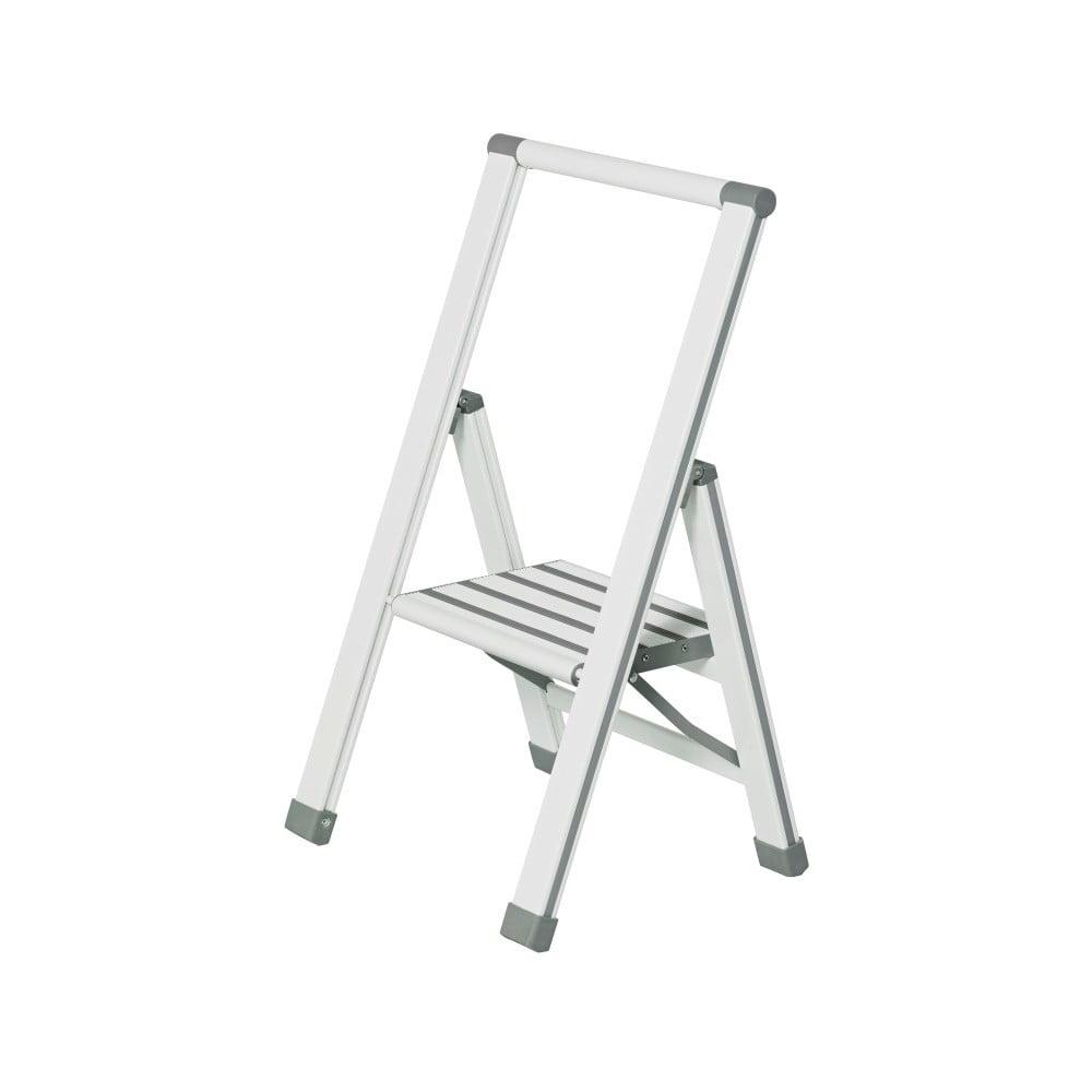 Bílé skládací schůdky Wenko Ladder Alu, výška 74 cm