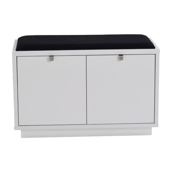 Bílá lavice s úložným prostorem a s černým sedákem Folke Confetti, šířka 70cm