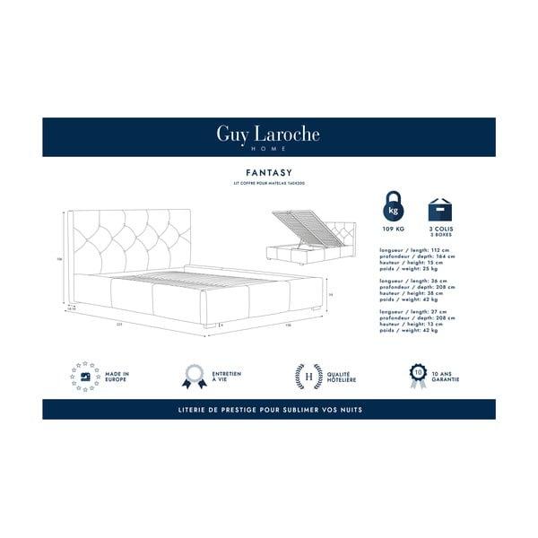 Mentolově zelená dvoulůžková postel s úložným prostorem Guy Laroche Home Fantasy, 140x200cm