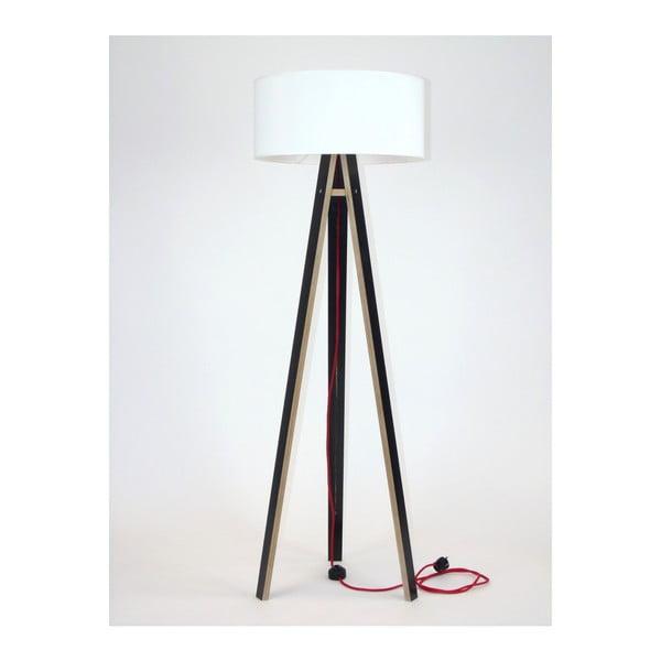 Wanda fekete állólámpa, fehér búrával és piros kábellel - Ragaba