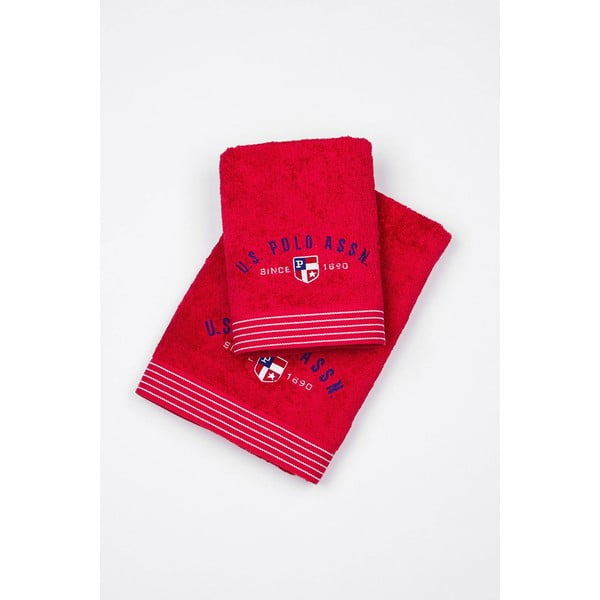 Sada 2 osušek US Polo Oackland Red, 50x100 a 70x140 cm