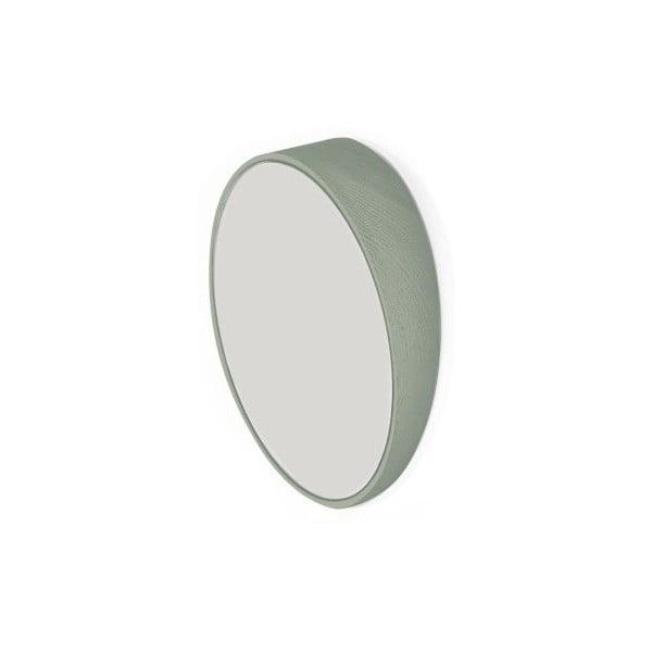 Zelené nástěnné zrcadlo z bukového dřeva HARTÔ, Ø 20,5 cm
