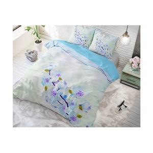 Modré bavlněné povlečení na jednolůžko Sleeptime Sweet Flowers, 140 x 220 cm