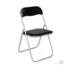 Sada 2 černých skládacích židlí Evergreen House Viola