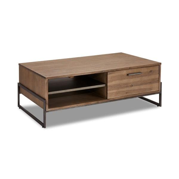 Hnědý konferenční stolek z masivního dřeva Furnhouse Mallorca, 120 x 75 cm