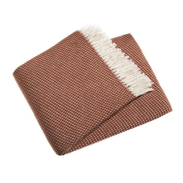 Terakotovohnedý pléd vo farbe terakota s podielom bavlny Euromant Ruby, 140×180 cm