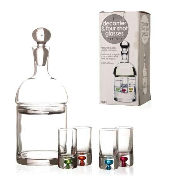 Set dekanter Shot se skleničkami, 4 ks