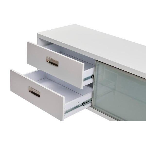Bílý televizní stolek se dvěma šuplíky Folke Satyr, délka 116 cm