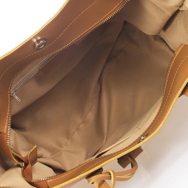 Světle hnědá kožená kabelka Giulia Massari Latina