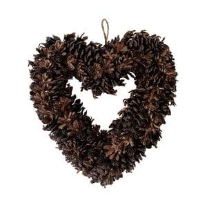 Přírodní tmavě hnědý věnec Côté Table Heart Alfe