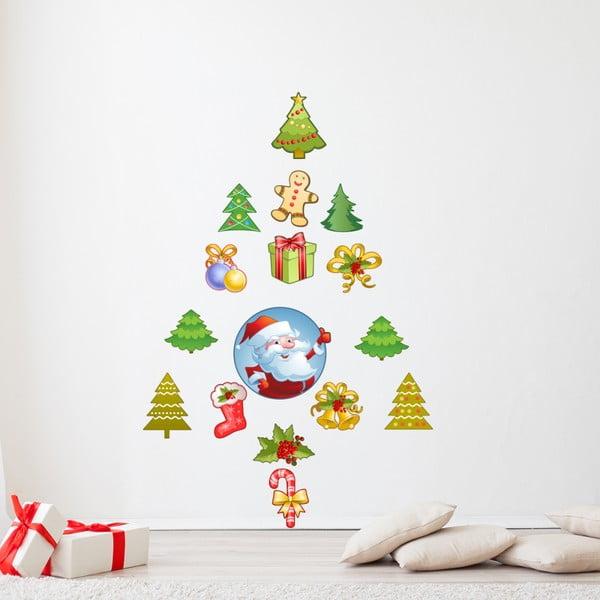 Sada 15 vianočných samolepiek Ambiance Santa Claus and his Christmas trees