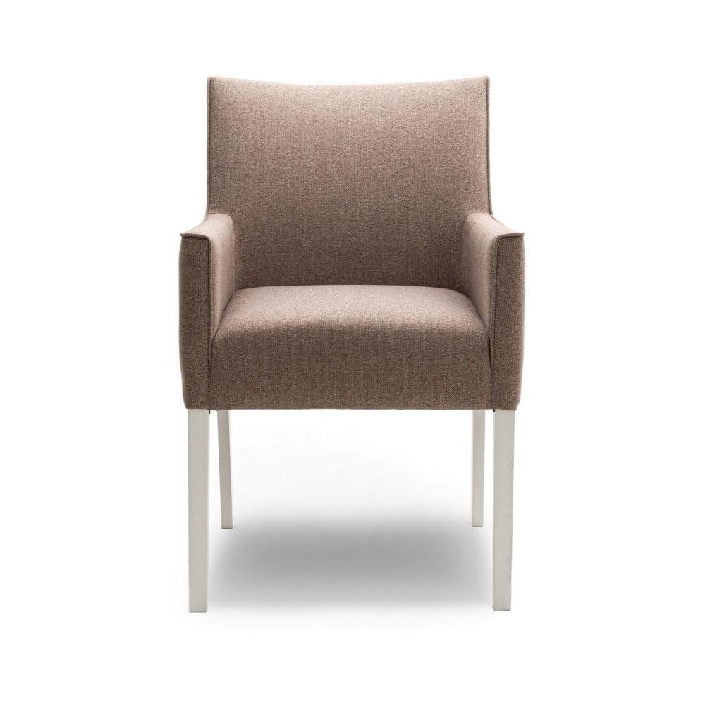 Béžová jídelní židle s područkami a nohami z dubového dřeva Mossø Gatora