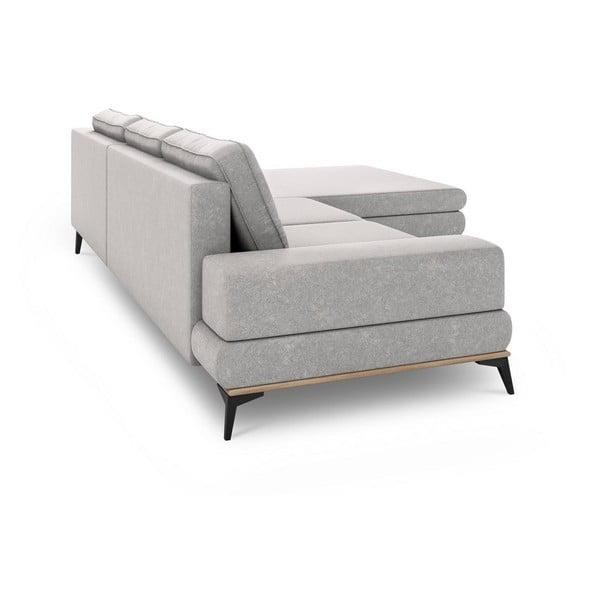 Canapea extensibilă de colț Windsor & Co Sofas Planet, pe partea dreaptă, gri deschis