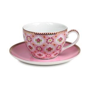 Hrneček na cappucino s talířkem, růžový