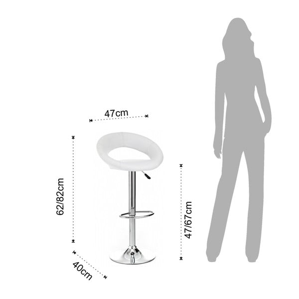 Sada 2 bílých barových židlí z hovězí kůže Tomasucci Round