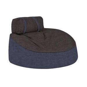 Modrý sedací puf s hnědošedým vrškem Poufomania Cookie