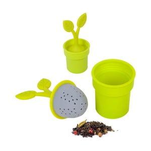 Sílikonové čajové sítko Flower Pot, zelené