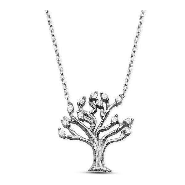 Colier argintiu cu pietre albe Baghira Tree