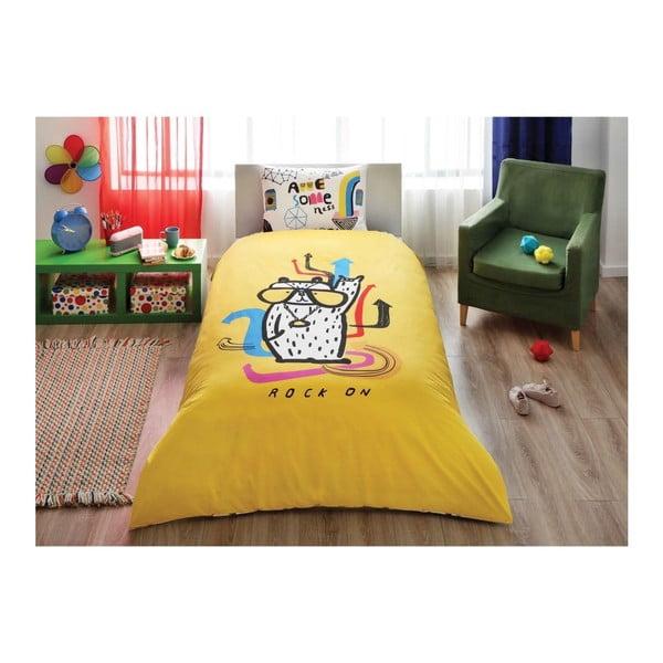 Lenjerie de pat din bumbac cu cearșaf Hallmark Rock On, 160 x 220 cm