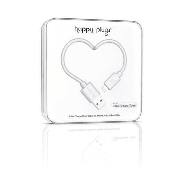 Bílý Happy Plugs nabíjecí a datový kabel, 2 metry