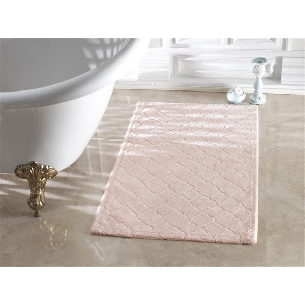 Růžová koupelnová předložka Confetti Bathmats Arven Powder, 40 x 60 cm