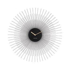 Černé nástěnné hodiny Karlsson Peony Large,ø60cm