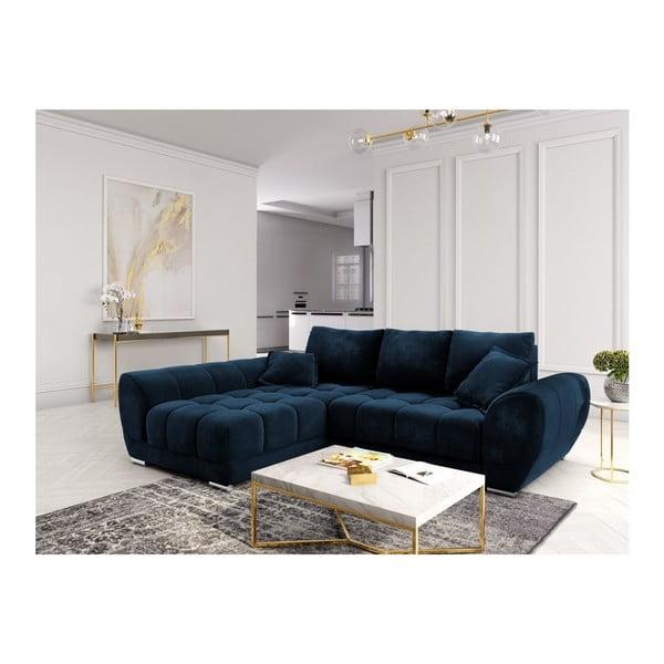 Canapea extensibilă cu înveliș de catifea Windsor & Co Sofas Nuage, pe partea stângă, albastru