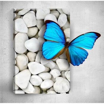 Tablou de perete 3D Mosticx Blue Butterfly On Pebbles, 40 x 60 cm