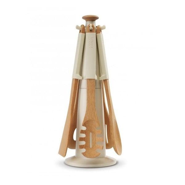 Stojan s nástroji Elevate Wood Carousel, béžový