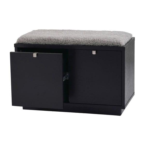 Bancă cu spațiu pentru depozitare și șezut gri Rowico Confetti, lățime 70cm, negru