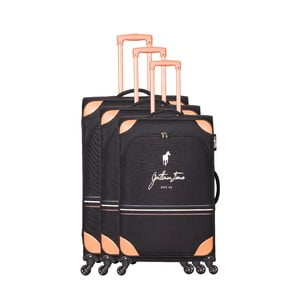 Sada 3 černých cestovních kufrů na kolečkách GENTLEMAN FARMER Trippy