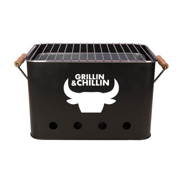 Mini gril přenosný Grillin&Chillin, černý