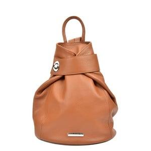 Koňakově hnědý kožený batoh Anna Luchini Bonnie