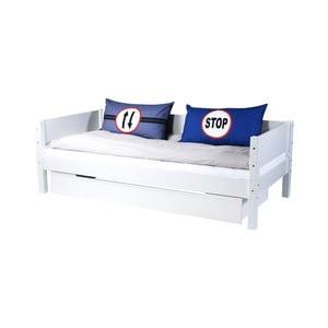 Bílá dětská postel s postranní pelestí a zásuvkou Manis-h Rex, 90x200cm